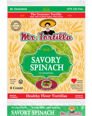 Mr. Tortilla Savory Spinach 8 Count