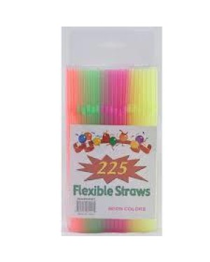 STRAW FLEXIBLE 225CT ASST NEON COLOR #S5501