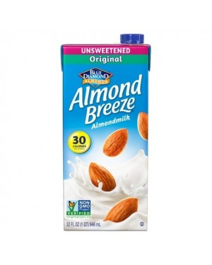 Blue Diamond Almond Breeze Milk Original UNSWEETENED 30CAL 32oz